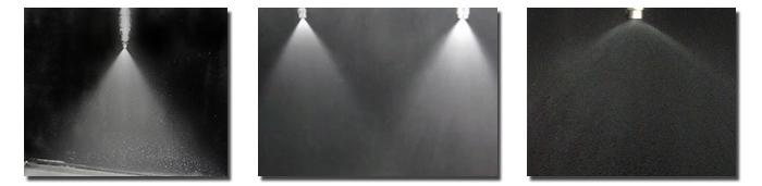 标准角实心圆锥yzc888喷嘴喷雾效果